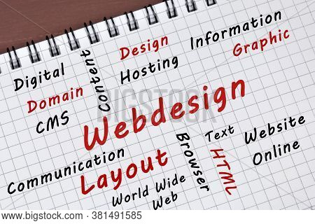 Webdesign Word On A Notepad Page Close Up