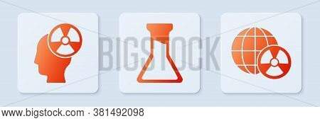Set Test Tube And Flask, Head And Radiation Symbol And Planet Earth And Radiation. White Square Butt