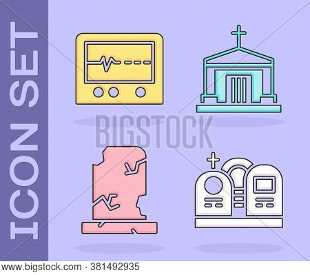 Set Grave With Tombstone, Beat Dead In Monitor, Old Grave With Tombstone And Old Crypt Icon. Vector