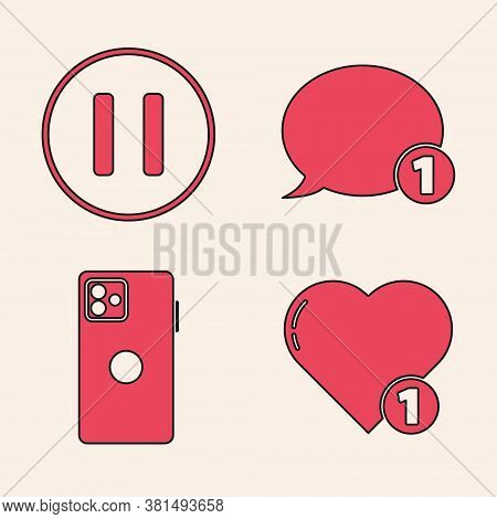 Set Like And Heart, Pause Button, Speech Bubble Chat And Smartphone, Mobile Phone Icon. Vector