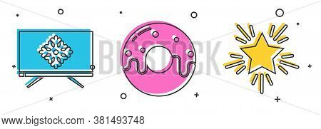 Set Merry Christmas On Television, Donut With Sweet Glaze And Christmas Star Icon. Vector