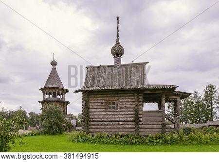 Manor Bogoslovka, Leningrad Region, Russia. - August 15, 2020. Wooden Buildings Of The Estate Church
