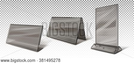 Booklet Holders, Business Card Holders, Stands For Advertising Brochures. Black Transparent Acrylic