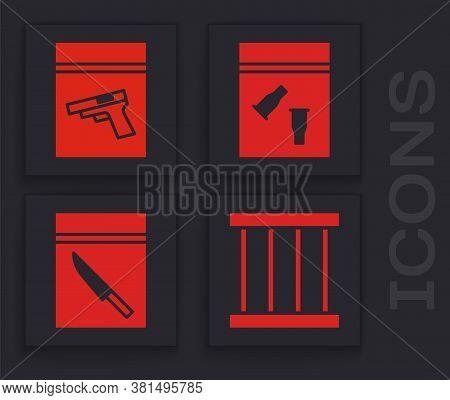 Set Prison Window, Evidence Bag And Pistol Or Gun, Evidence Bag And Bullet And Evidence Bag And Knif