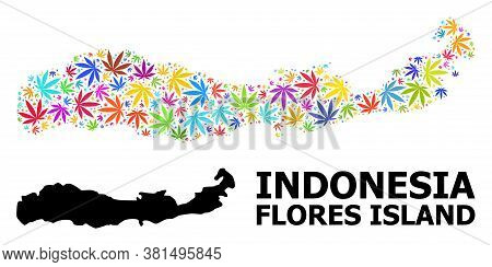 Vector Hemp Mosaic And Solid Map Of Indonesia - Flores Island. Map Of Indonesia - Flores Island Vect