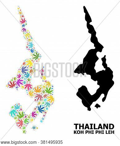 Vector Weed Mosaic And Solid Map Of Koh Phi Leh. Map Of Koh Phi Leh Vector Mosaic For Marijuana Lega