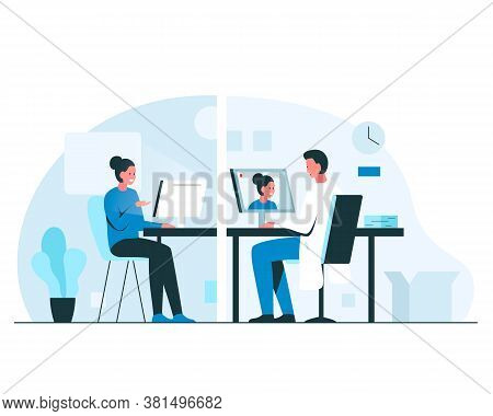 Consultation With A Doctor Via Video Call. Online Doctor Appointment Via Videoconference. Vector Con