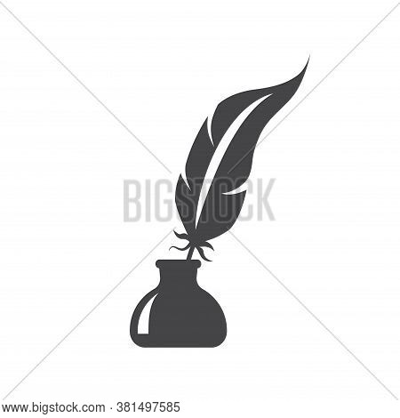 Pen Feather In Ink Bottle Black Vector Icon. Inkstand Or Ink Well With Bird Feather Glyph Silhouette