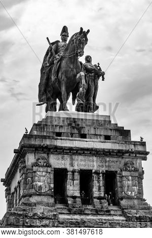 Koblenz, Rp / Germany - 1 August 2020: View Of The Emperor William Monument At The Deutsches Eck Con