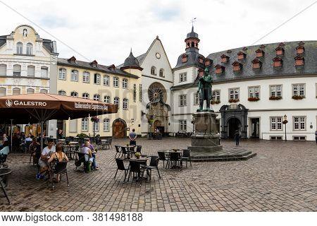 Koblenz, Rp / Germany - 1 August 2020: The Jesuitenplatz Square In Koblenz With Ist Historic Buildin