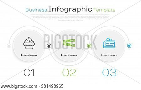 Set Line Cupcake, Sugar Stick Packets And Piece Of. Business Infographic Template. Vector
