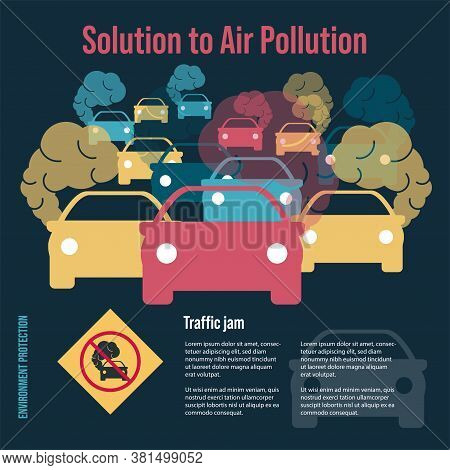 Many Cars Of Different Colors. Road Congestion. Traffic Jams. Automotive Sharp. Solution To Air Poll