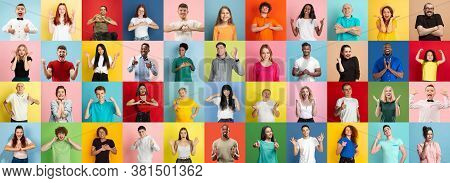 Collage Of Portraits Of 35 Young Emotional People On Multicolored Background. Concept Of Human Emoti