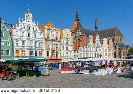 Rostock, M-v / Germany - 11 August 2020: Market Day On The Neuer Markt Rostock In Northern Germany