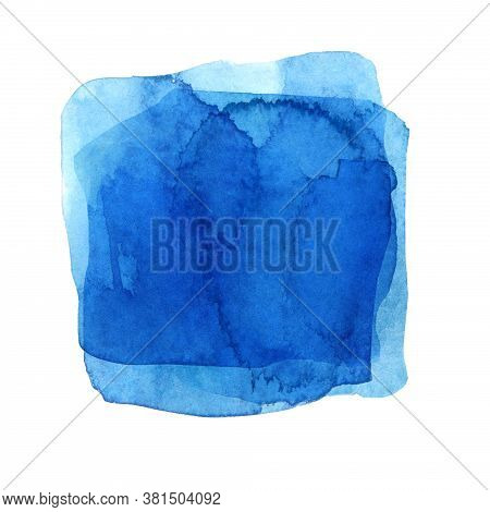 Watercolor Blue Spot Isolated On White. Hand Drawn Texture On Paper. Square Element For Packaging De
