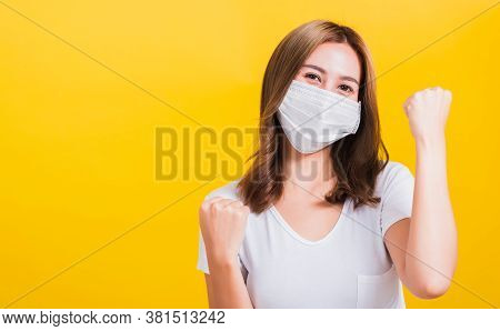 Asian Beautiful Happy Young Woman Wearing Face Mask Protection Filter Dust Pm2.5, Covid Virus And Ai