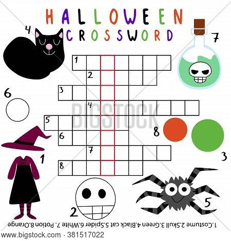 Halloween Crossword For Kids Vector. Funny Educational English Words Game With Keyword Skeleton. Hal