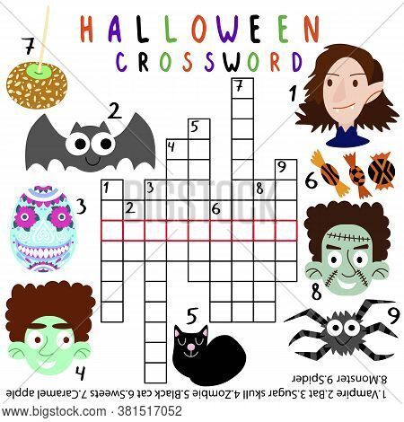 Amusing Halloween Crossword For Children Stock Vector Illustration. Simple Crossword With Vampire, B
