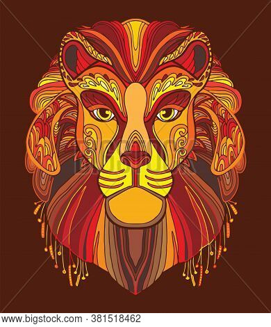 Lion Coloring Book For Adults Vector Illustration Isolated On Red. Anti-stress Coloring. Tangle Styl