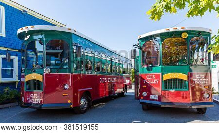Bar Harbor, Maine - 28 August 2014: Oli's Trolleys are re-purposed trolley car that offer tourist tours around Mount Desert Island and Acadia national Park and are based in Bar Harbor, maine, USA
