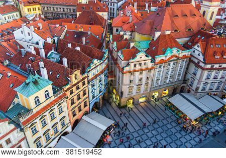 Top View Of Prague Old Town Stare Mesto Historical City Centre. Row Of Buildings With Colorful Facad
