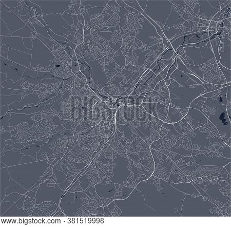 Map Of The City Of Sheffield, Uk