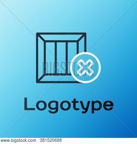 Line Wooden Box And Delete Icon Isolated On Blue Background. Box, Package, Parcel Sign. Delivery And