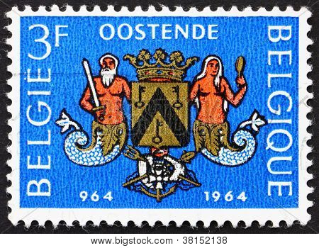 Postage stamp Belgium 1964 Arms of Ostend, Millennium of Ostend