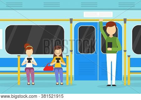 People Using Smartphones In Subway Train, Passengers Using Gadgets In Public Transport Cartoon Vecto