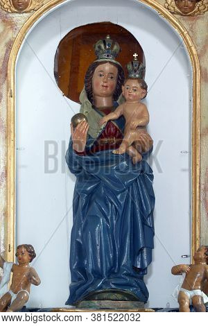 STRMEC, CROATIA - NOVEMBER 06, 2013: Virgin Mary with baby Jesus, Chapel of the Blessed Virgin Mary in Strmec, Croatia