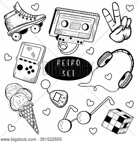 Hand Drawn Doodle Set Of Teen Elements Isolated On White Background. Retro, Cassette, Headphones, Ro