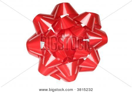 Large Gift Wrapping Bow, Shiny Red, Isolated On White