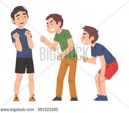 Sad Boy Bullied By Classmates, Two Boys Mocking, Laughing And Pointing Fingers Him, Mockery And Bull