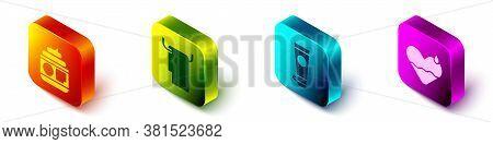 Set Isometric Cream Or Lotion Cosmetic Tube, Towel On A Hanger, Cream Or Lotion Cosmetic Tube And He