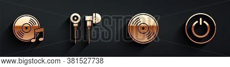 Set Vinyl Disk, Air Headphones, Vinyl Disk And Power Button Icon With Long Shadow. Vector
