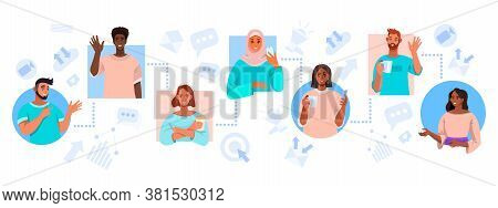 Teamwork and virtual meeting illustration with diverse freelancer communicating online. Video call, conference or group chat concept with smm icons. Virtual meeting banner with multinational people