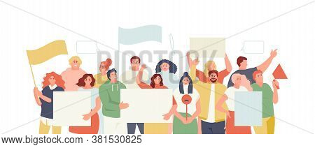 Protesting People With Posters And Banners. Strike, Mass Action Vector Illustration