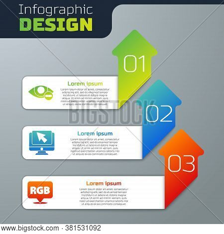 Set Red Eye Effect, Computer Monitor And Cursor And Speech Bubble With Rgb And Cmyk. Business Infogr