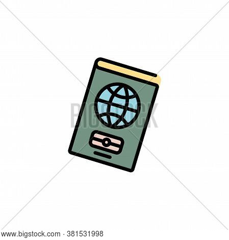 Passport Color Icon Thin Line, Linear, Outline. Simple Sign, Logo. Foreign Passport Line Icon. Visa,