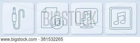Set Line Audio Jack, Musical Note In Speech Bubble, Music Book With Note And Music Note, Tone. White