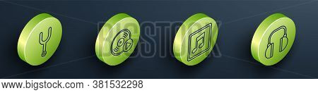 Set Isometric Musical Tuning Fork, Vinyl Disk, Music Note, Tone And Headphones Icon. Vector