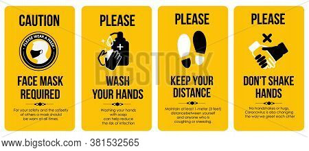 Yellow Caution Cards. Face Mask Required. Please Wash Your Hands. Keep Your Distance.