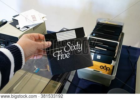Rome, Italy - April 27, 2019: 5.25 Floppy Disk Produced By Office Data Products Exhibited At The Vin