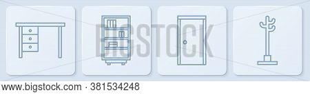 Set Line Office Desk, Closed Door, Library Bookshelf And Coat Stand. White Square Button. Vector