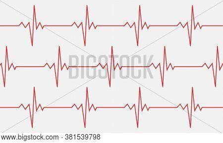 Heartbeat Line Symbol Background. Ekg Cardio Pulse Sign Isolated On White Background. Vector Eps 10