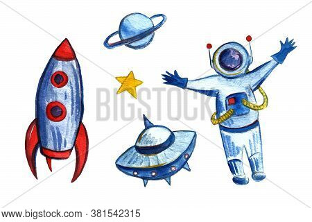 Watercolor Space And Astronautics Illustration. Hand Drawn Background For Kids. Cartoon Rocket, Plan