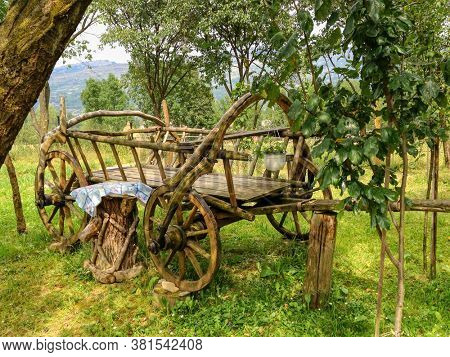 historic horse wooden cart used in the old days in Romania