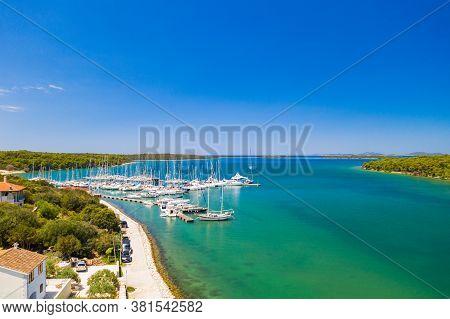 Marina In Veli Rat On Dugi Otok Island On Adriatic Sea Coastline In Croatia, Aerial View From Drone,