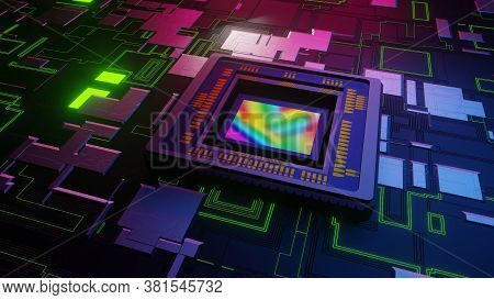 Digital Camera, Smartphone Sensor On Printed Circuit Board, Motherboard Accepting Light And Sendin D