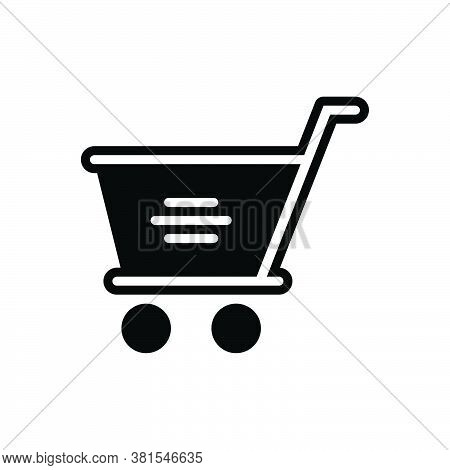 Black Solid Icon For Shopping-cart Shopping Cart Trolly Purchase Commercial Shop Marketing Customer